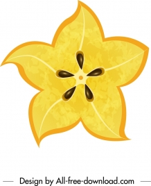 carambola icon flat yellow closeup sliced sketch