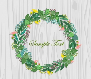 card cover template colorful flower wreath background