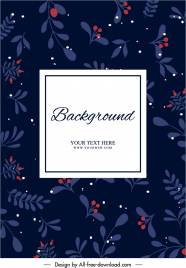 card cover template dark elegant botanical decor