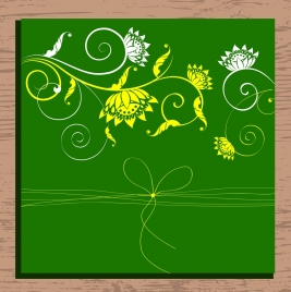 card cover template flowers ribbon background classical sketch