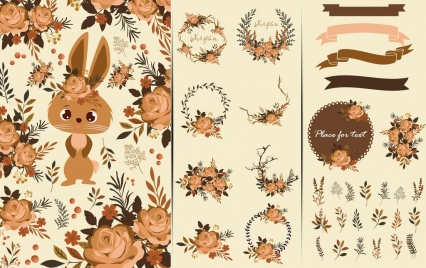 card design elements brown bunny flowers ribbon icons