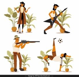 career icons singer guitarist hunter footballer sketch