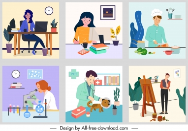 careers background template colored cartoon sketch