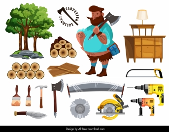 carpenter work design elements colored objects sketch