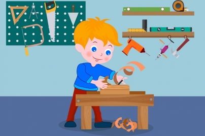 carpentry background playful kid tools icon colorful cartoon