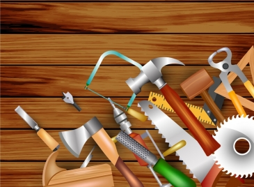 carpentry design elements various tools icons multicolored decor