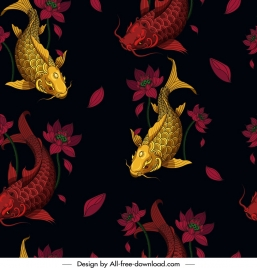 carps background dark golden red decor repeating design