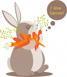 carrot advertising cute rabbit icon colored cartoon
