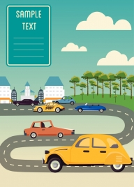 cars advertisement classical colored design curved road icon