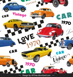 cars collection pattern 1970 decade vintage models decor