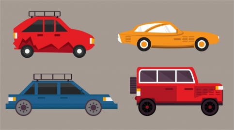 cars design collection various types isolation