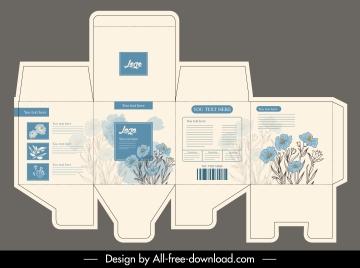 carton package template elegant handdrawn flower decor