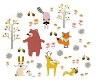 cartoon animal and tree set