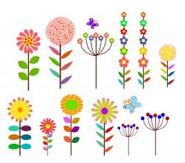 cartoon flowers design element