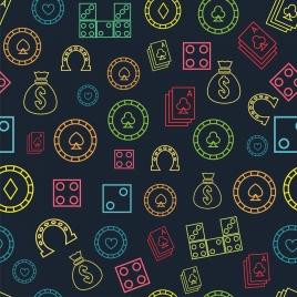 casino background multicolors symbols repeating flat design
