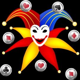 casino background template colorful symbols evil icon