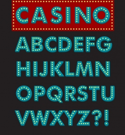 casino sign template sparkling neon words decor