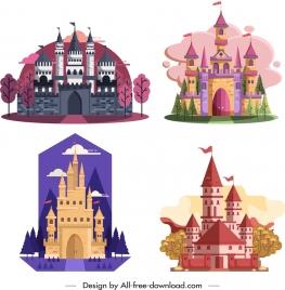 castle icons templates flat vintage design colorful ornament