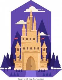 castle painting classical design violet brown decor