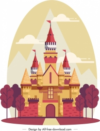 castle painting colorful classical design