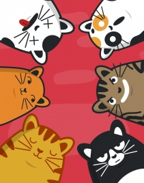 cat background funny cartoon characters emotional decor
