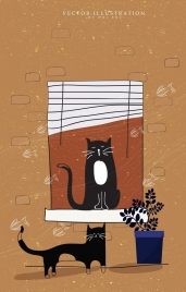 cat drawing classical colored flat decor