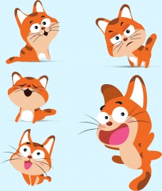 cat icons collection colored cartoon design various gestures