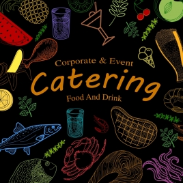 catering event banner food icons dark colorful design