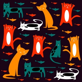 cats background colorful flat icons decoration dark design
