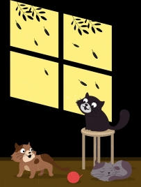 cats drawing black wall decor classical cartoon design