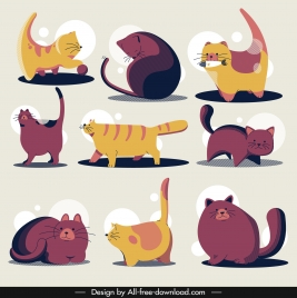 cats icons colored classical handdrawn sketch