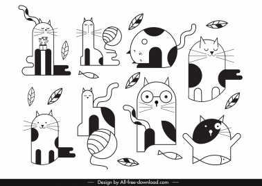 cats icons funny flat black white handdrawn sketch