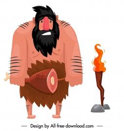 caveman icon ancient man sketch cartoon character