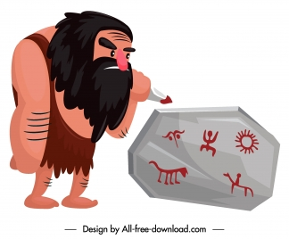 caveman icon ancient man stone drawing sketch