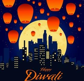 celebration banner flying lantern cityscape night moon decor