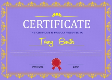 certificate design with classical border in violet background