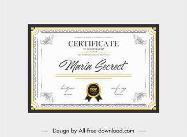 certificate template bright flat symmetry classical decor