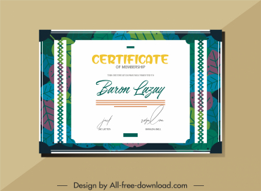certificate template colorful flat classical leaves decor
