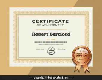 certificate template elegant bright classic decor