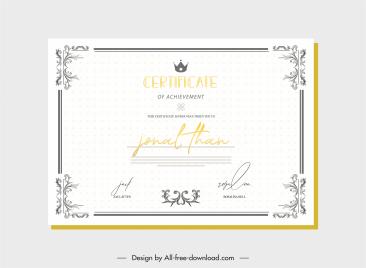 certificate template elegant vintage symmetrical border decor