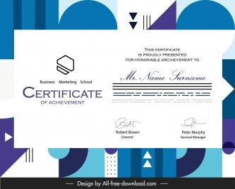 certificate template modern flat geometric background decor