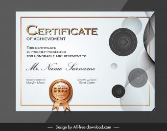 certification template modern elegant circles decor