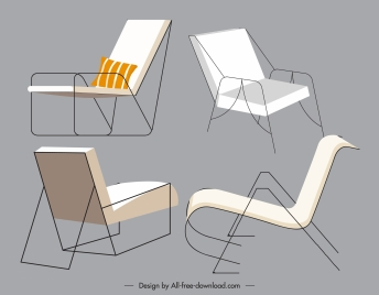 chair furnitures icons simple design 3d sketch