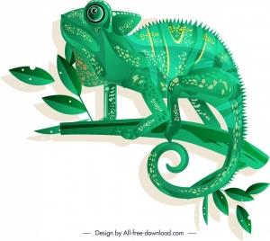 chameleon creature icon dark green sketch