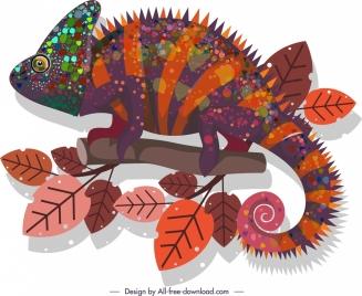 chameleon icon dark colorful bristle decor