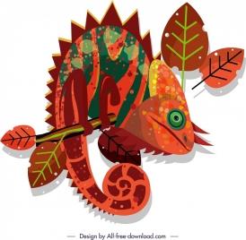 chameleon icon dark colorful retro flat sketch