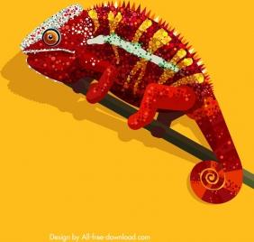 chameleon painting colorful sparkling decor flat design