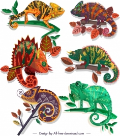 chameleon species icons colorful flat sketch