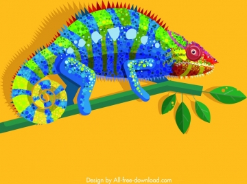 chameleon wild animal painting colorful sparkling flat design