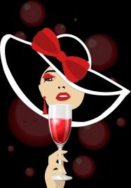 champagne celebration background lady glass icon bokeh backdrop